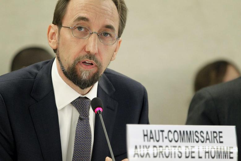 Newly appointed U.N. High Commissioner for Human Rights, Jordan's Prince Zeid Ra'ad Zeid al-Hussein speaks at the Human Rights Council at the United Nations Europeans headquarters in Geneva September 8, 2014. REUTERS/Pierre ALBOUY