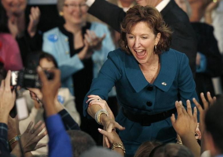 U.S. Senator-elect Kay Hagan (D-NC) reacts after defeating incumbent Sen. Elizabeth Dole (R-NC) at her victory party at the Greensboro Coliseum in Greensboro, North Carolina November 4, 2008.   REUTERS/Ellen Ozier