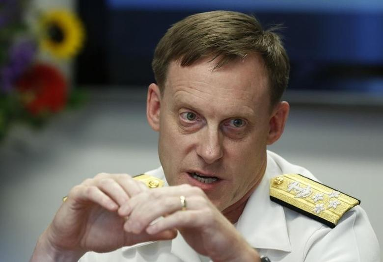 Adm. Michael Rogers speaks at a Reuters CyberSecurity Summit in Washington, May 12, 2014.    REUTERS/Larry Downing