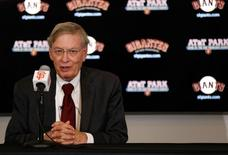 Sep 11, 2014; San Francisco, CA, USA;  MLB commissioner Bud Selig speaks to the media before the baseball game between the San Francisco Giants and the Arizona Diamondbacks at AT&T Park. Mandatory Credit: Kelley L Cox-USA TODAY Sports