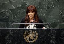 Cristina Kirchner faz discurso em Assembleia-Geral da ONU.  REUTERS/Mike Segar
