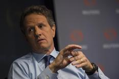 Former Treasury Secretary Timothy Geithner speaks during a Thomson Reuters Newsmaker event in the Manhattan borough of New York, May 23, 2014. REUTERS/Keith Bedford