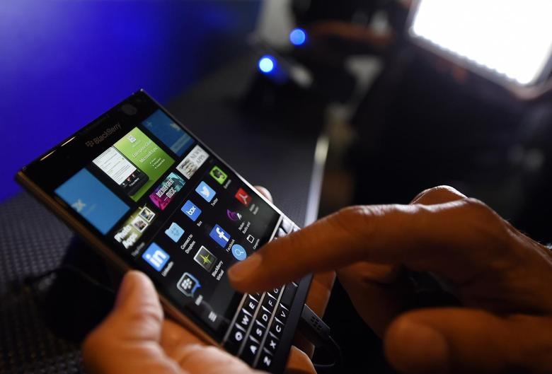 A BlackBerry Passport smartphone is shown at its official launching event in Toronto, September 24, 2014.REUTERS/Aaron Harris