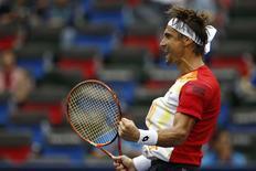 David Ferrer comemora vitória sobre Murray em Xangai.   REUTERS/Aly Song