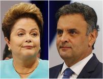 Presidente Dilma Rousseff, que concorre à reeleição pelo PT, e candidato do PSDB, Aécio Neves, em fotos tiradas durante debate na TV, em São Paulo. 16/10/2014. REUTERS/Paulo Whitaker