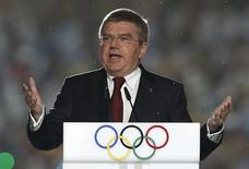 International Olympic Committee (IOC) President Thomas Bach delivers a speech during the closing ceremony of the 2014 Nanjing Youth Olympic Games in Nanjing, Jiangsu province August 28, 2014. REUTERS/Aly Song
