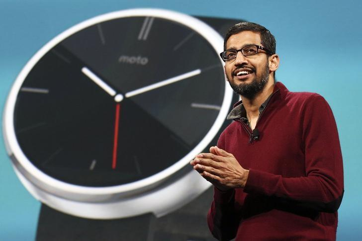 Sundar Pichai, Google's senior vice president of Android, Chrome and Apps, speaks about wearables during his keynote address at the Google I/O developers conference in San Francisco June 25, 2014.  REUTERS/Elijah Nouvelage