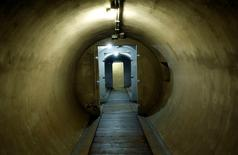 A passageway is pictured inside a secret bunker of Fascist leader Benito Mussolini that was built between 1942 and 1943 under his private residence at Villa Torlonia in Rome, October 25, 2014. REUTERS/Remo Casilli