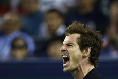 Andy Murray comemora ponto vencido em jogo do Masters de Xangai. 07/10/2014 REUTERS/Aly Song
