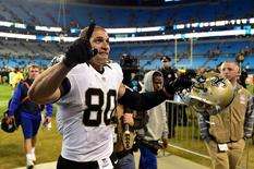 New Orleans Saints tight end Jimmy Graham (80) runs off the field after the game. The Saints defeated the Panthers 28-10 at Bank of America Stadium. Bob Donnan-USA TODAY Sports