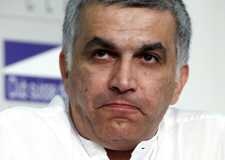 Nabeel Rajab, president of the Bahrain Center for Human Rights, pauses during a conference at the Swiss Press Club in Geneva June 18, 2014. REUTERS/Denis Balibouse