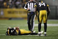 Nov 2, 2014; Pittsburgh, PA, USA; Pittsburgh Steelers safety Troy Polamalu (43) suffers a sprained left knee as linebacker Lawrence Timmons (94) looks on (94) against the Baltimore Ravens during the first half of the game at Heinz Field. Mandatory Credit: Jason Bridge-USA TODAY Sports