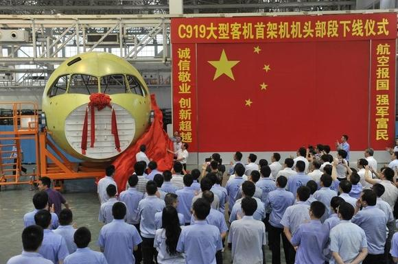 The nose of China's home-grown airliner C919 is unveiled in Chengdu, Sichuan province, July 31, 2014.  REUTERS/China Daily