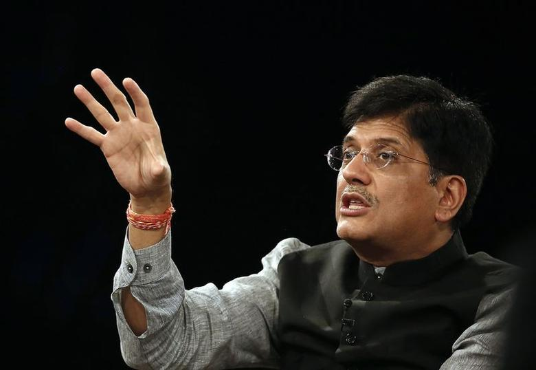 Power Minister Piyush Goyal speaks during the India Economic Summit 2014 at the World Economic Forum in New Delhi November 6, 2014. REUTERS/Anindito Mukherjee