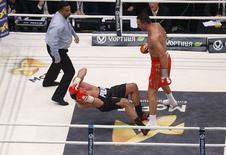 Ukrainian WBA, WBO, IBO and IBF heavyweight boxing world champion Vladimir Klitschko knocks down his challenger Bulgarian Kubrat Pulev during their title fight in Hamburg, November 15, 2014. REUTERS/Morris Mac Matzen