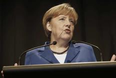 Germany's Chancellor Angela Merkel speaks at a news conference in Auckland November 14, 2014. REUTERS/Nigel Marple
