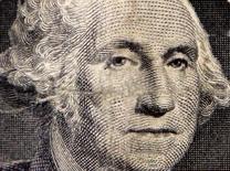 Primer plano del dibujo del primer presidente de Estados Unidos, George Washington, en un billete de un dólar, oct 15 2014. El dólar caía el miércoles contra una canasta de monedas tras una serie de datos decepcionantes de consumidores, vivienda y manufactura de Estados Unidos que generaron temores a que la mayor economía mundial esté perdiendo vigor en el último trimestre del 2014.    REUTERS/Chris Helgren