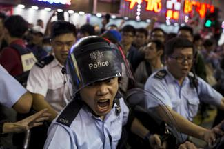 Police clear Hong Kong camp