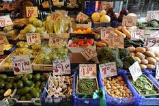 Fruit and vegetables are seen for sale in Soho's Berwick Street Market in central London May 17, 2011. REUTERS/Paul Hackett