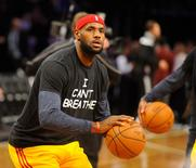 "Dec 8, 2014; Brooklyn, NY, USA; Cleveland Cavaliers forward LeBron James (23) wears an "" I Can't Breathe"" t-shirt during warm ups prior to the game against the Brooklyn Nets at Barclays Center. Mandatory Credit: Robert Deutsch-USA TODAY Sports"