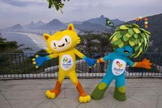 Mascostes da Olimpíada do Rio 2016 durante apresentação no Rio de Janeiro. 23/11/2014. REUTERS/Alex Ferro/COB/Handout via Reuters