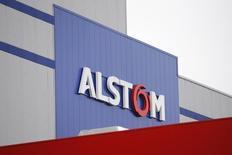 Logotipo da Alstom durante visita inaugural a instalações na França. 02/12/2014 REUTERS/Stephane Mahe