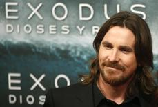 "Cast member Christian Bale poses for photographs as he arrives for film world premiere of ""Exodus: Gods and Kings"" in Madrid , December 4, 2014. REUTERS/Juan Medina"
