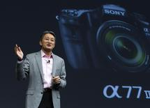 President and CEO of Sony Corporation Kazuo Hirai speaks about Sony digital cameras at a Sony news conference during the 2015 International Consumer Electronics Show (CES) in Las Vegas, Nevada, January 5, 2015. REUTERS/Steve Marcus