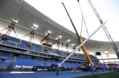 A view of the Joao Havelange Olympic Stadium, undergoing renovation to stage athletic competitions during the Rio 2016 Olympic Games, during the 2nd world press briefing for the games in Rio de Janeiro August 6, 2014.  REUTERS/Sergio Moraes
