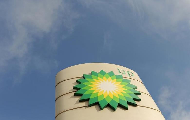 A logo on a British Petroleum petrol station is seen in London in this file photo taken on April 30, 2010. REUTERS/Toby Melville