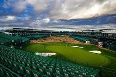 Jan 27, 2015; Scottsdale, AZ, USA; Overall view of the stadium par three 16th hole at TPC Scottsdale. Mandatory Credit: Mark J. Rebilas-USA TODAY Sports