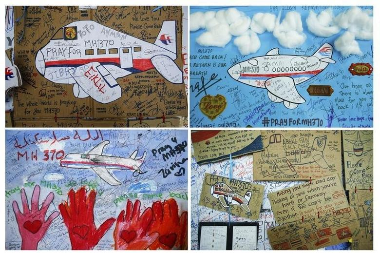 A combination photo shows drawings with messages of hope for passengers of missing Malaysia Airlines Flight MH370 at Kuala Lumpur International Airport (KLIA) outside Kuala Lumpur June 14, 2014. REUTERS/Samsul Said