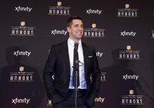 Jan 31, 2015; Phoenix, AZ, USA; Green Bay Packers quarterback Aaron Rodgers poses after being selected as the AP Most Valuable Player at the 4th annual NFL Honors at Symphony Hall. Mandatory Credit: Kirby Lee-USA TODAY Sports
