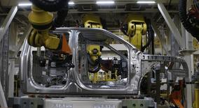 The aluminium cab of an all-new Ford 2015 F-150 pickup truck is seen on the new robot assembly line at the Ford Rouge Center in Dearborn, Michigan, November 11, 2014. REUTERS/Rebecca Cook
