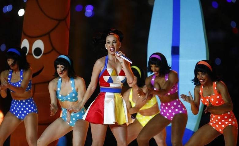 Katy Perry performs at halftime. REUTERS/Mark J. Rebilas-USA TODAY Sports