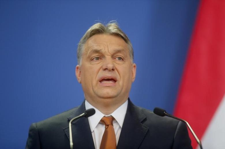 Hungarian Prime Minister Viktor Orban addresses a news conference following his meeting with German Chancellor Angela Merkel, in Budapest February 2,2015.        REUTERS/Laszlo Balogh