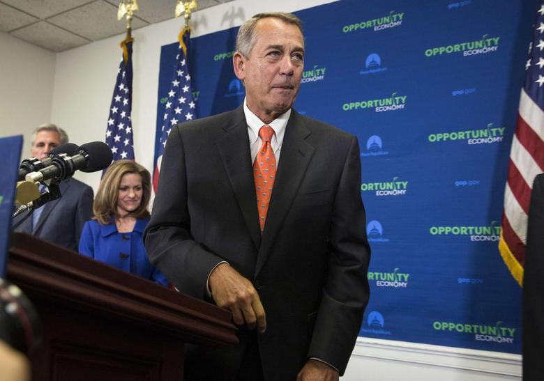 Speaker of the House John Boehner (R-OH) speaks after a House Republican caucus meeting on Capitol Hill in Washington February 11, 2015. REUTERS/Joshua Roberts