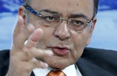 Finance Minister Arun Jaitley gestures during the session in the Swiss mountain resort of Davos January 23, 2015. REUTERS/Ruben Sprich/Files