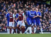 Football - Chelsea v Burnley - Barclays Premier League - Stamford Bridge - 21/2/15 Chelsea's Nemanja Matic is shown a red card by referee Martin Atkinson Action Images via Reuters / Tony O'Brien Livepic EDITORIAL USE ONLY