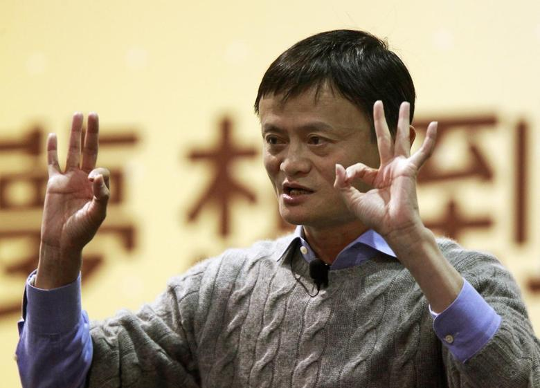 Alibaba Group Executive Chairman Jack Ma gestures while giving a speech at National Taiwan University in Taipei March 3, 2015. REUTERS/Pichi Chuang
