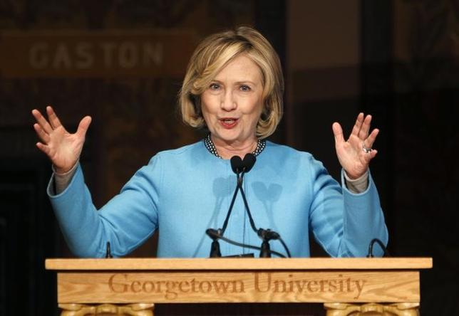 Former U.S. Secretary of State Hillary Clinton speaks on ''Smart Power: Security Through Inclusive Leadership''  at Georgetown University in Washington December 3, 2014. REUTERS/Kevin Lamarque