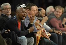 Floyd Mayweather in attendance during the second half of the NBA game between the Cleveland Cavaliers and the Los Angeles Lakers at Staples Center. Jan 15, 2015; Los Angeles, CA, USA; Richard Mackson-USA TODAY Sports