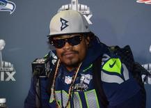 Jan 29, 2015; Phoenix, AZ, USA; Seattle Seahawks running back Marshawn Lynch (24) at press conference at Arizona Grand in advance of Super Bowl XLIX. Mandatory Credit: Kirby Lee-USA TODAY Sports