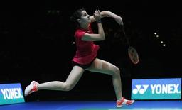 The National Indoor Arena, Birmingham - 8/3/15. Spain's Carolina Marin in action during the women's singles final . Action Images via Reuters / Peter Cziborra Livepic