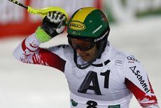 Mario Matt of Austria reacts after his second run in the men's Alpine Skiing World Cup night slalom in Schaldming January 27, 2015.  REUTERS/Dominic Ebenbichler