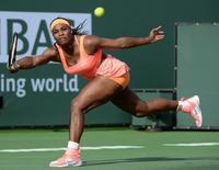 Mar 15, 2015; Indian Wells, CA, USA; Serena Williams (USA) during her match against Zarina Diyas (KAZ) at the BNP Paribas Open at Indian Wells Tennis Garden.  Jayne Kamin-Oncea-USA TODAY Sports