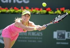 Eugenie Bouchard (CAN) during her match against CoCo Vandeweghe (USA) at the BNP Paribas Open at the Indian Wells Tennis Garden. Mandatory Credit: Jayne Kamin-Oncea-USA TODAY Sports