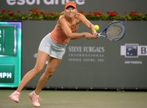 Mar 16, 2015; Indian Wells, CA, USA;  Maria Sharapova (RUS) during her match against Victoria Azarenka (BLR) at the BNP Paribas Open at the Indian Wells Tennis Garden. Mandatory Credit: Jayne Kamin-Oncea-USA TODAY Sports