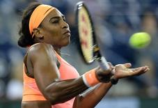 Mar 18, 2015; Indian Wells, CA, USA;   Serena Williams (USA) during her match against Timea Bacsinszky (SUI) in the BNP Paribas open at the Indian Wells Tennis Garden. Mandatory Credit: Jayne Kamin-Oncea-USA TODAY Sports