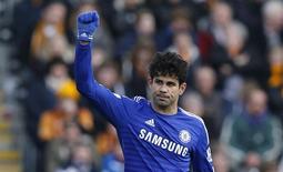 Diego Costa em partida do Chelsea contra o Hull City no Campeonato Inglês. 22/03/2015 REUTERS/Andrew Yates